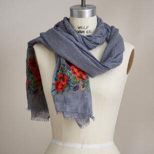CHECK FLOWER SCARF