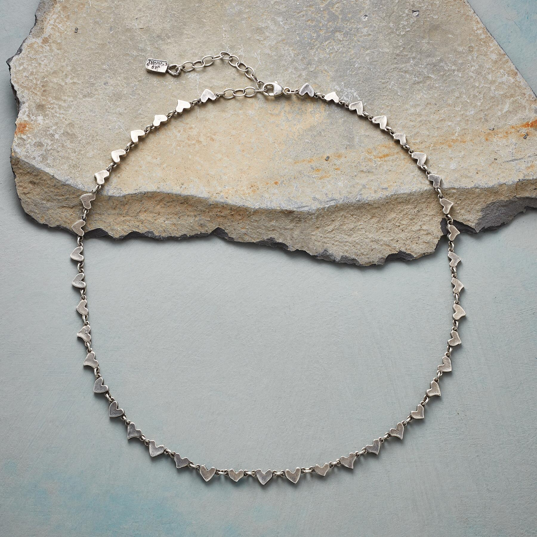 STERLING SILVER CHAIN OF HEARTS NECKLACE: View 2