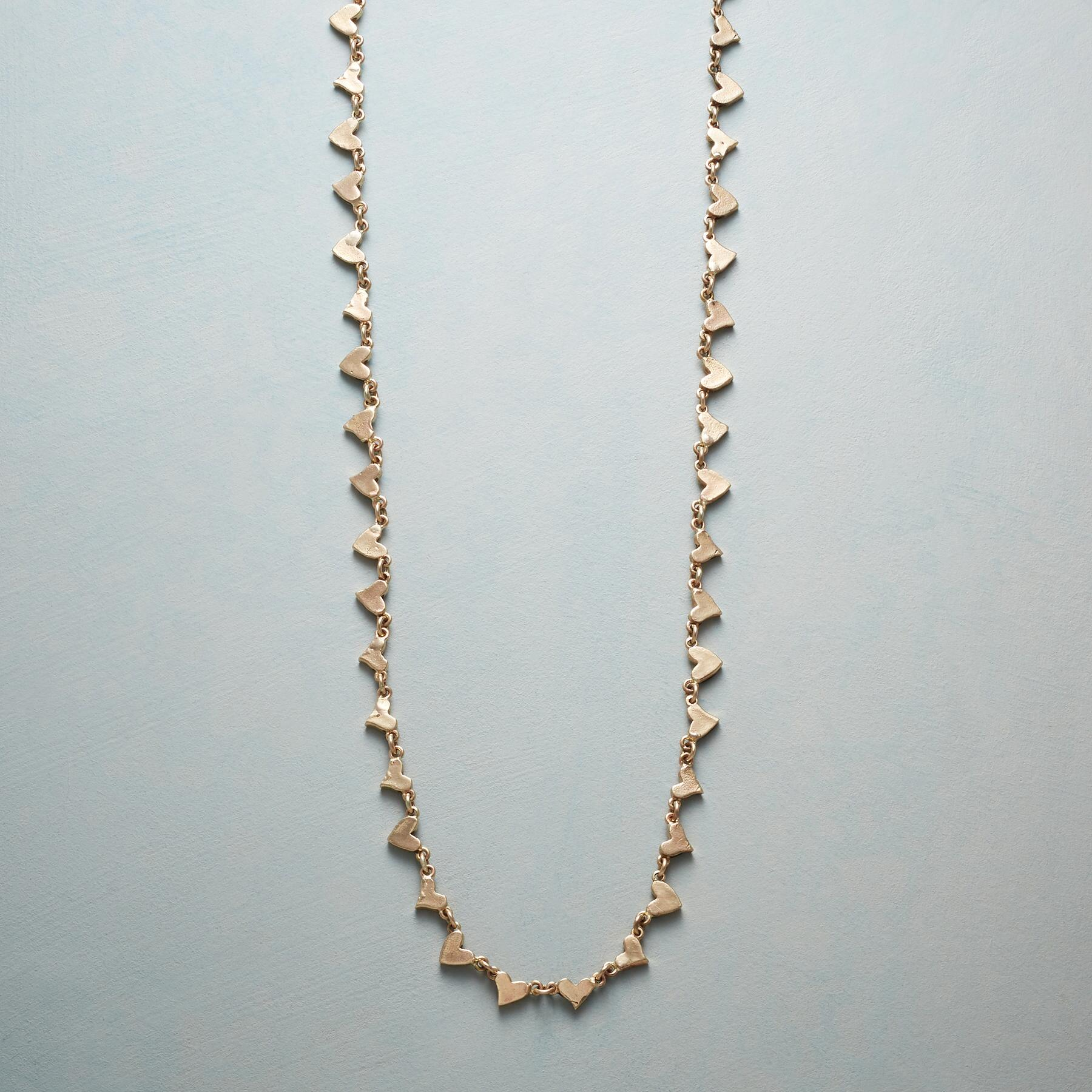14KT GOLD CHAIN OF HEARTS NECKLACE: View 1