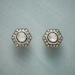 DIAMOND HEXAGON EARRINGS