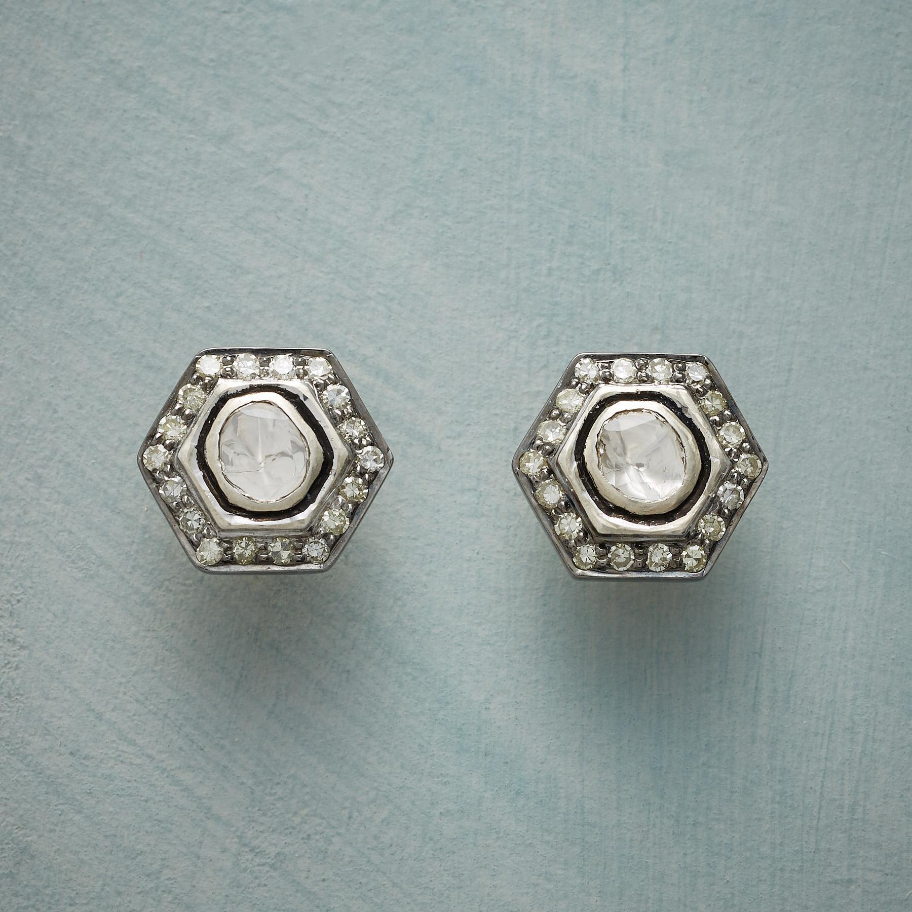 DIAMOND HEXAGON EARRINGS: View 1