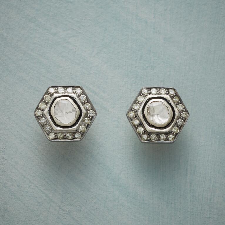 DIAMOND HEXAGON EARRINGS