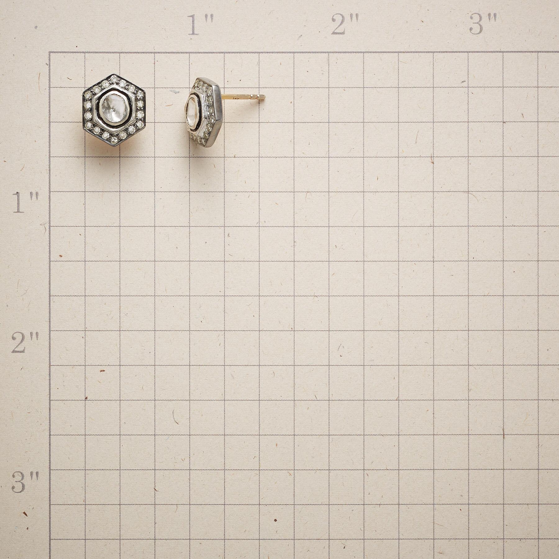 DIAMOND HEXAGON EARRINGS: View 2