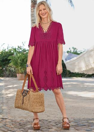 NAHLA EMBROIDERED DRESS - PETITES