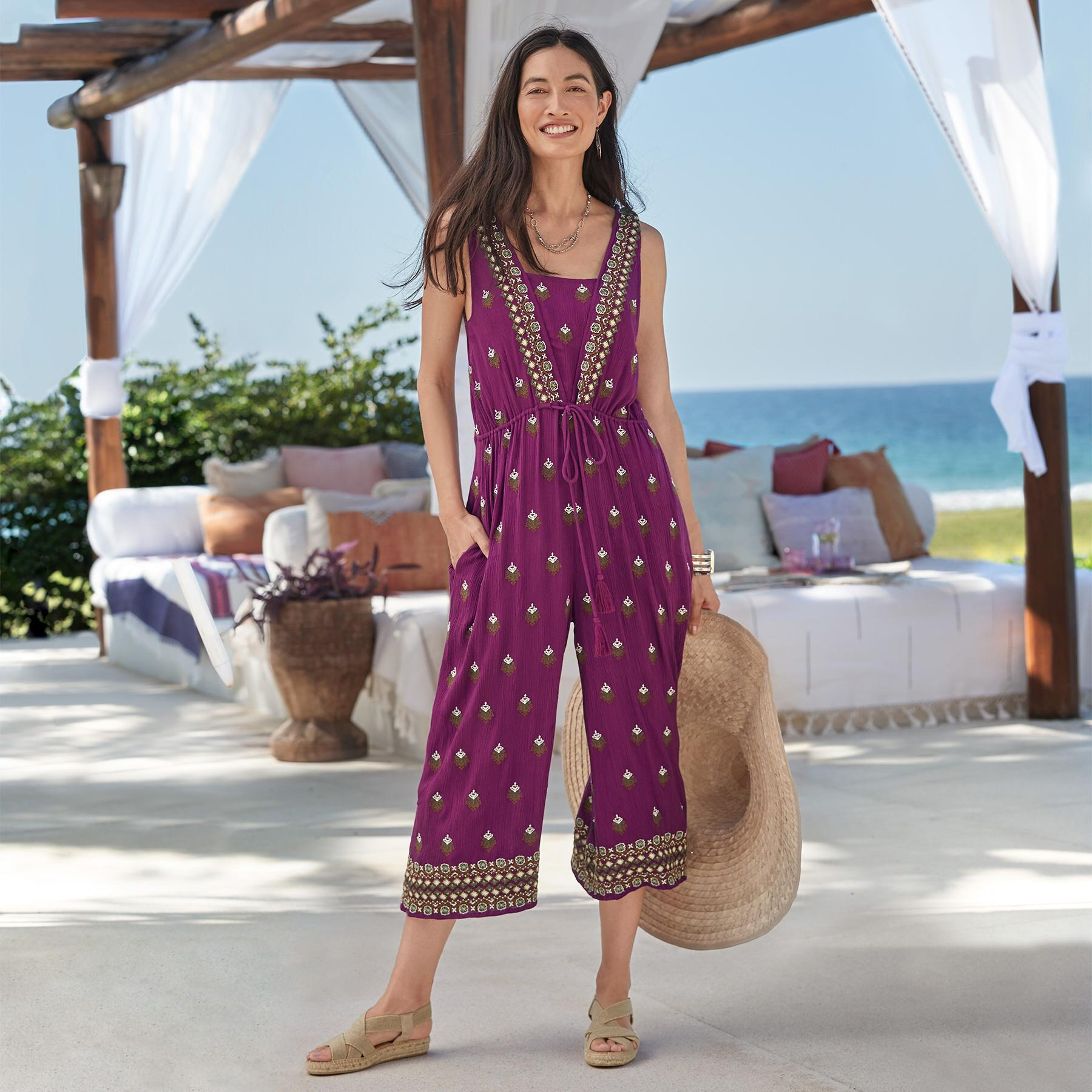 AMIRA EMBROIDERED JUMPSUIT PETITE: View 1