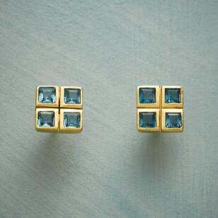 FOURSQUARE BLUE TOPAZ EARRINGS