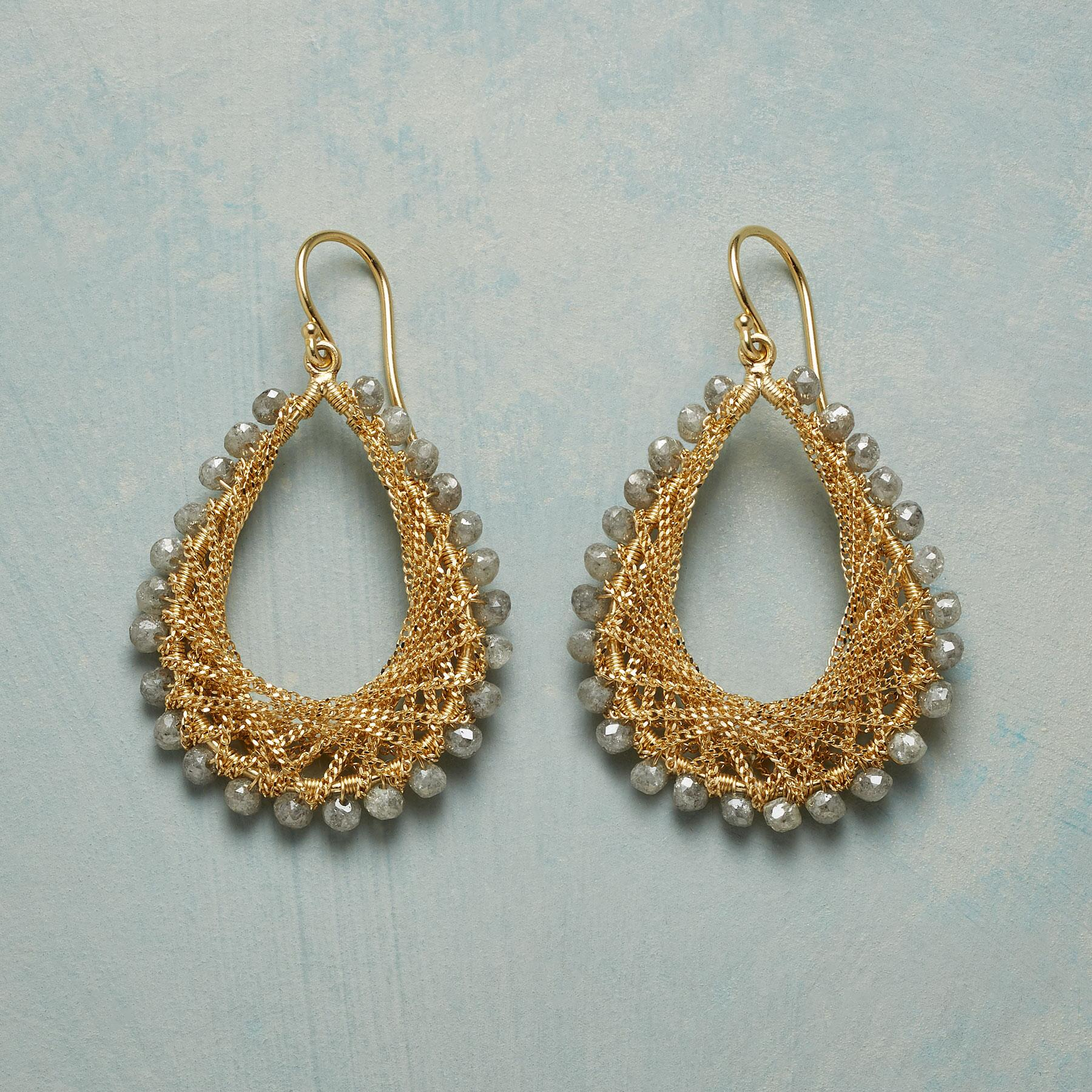 LACE & LIGHT DIAMOND EARRINGS: View 1