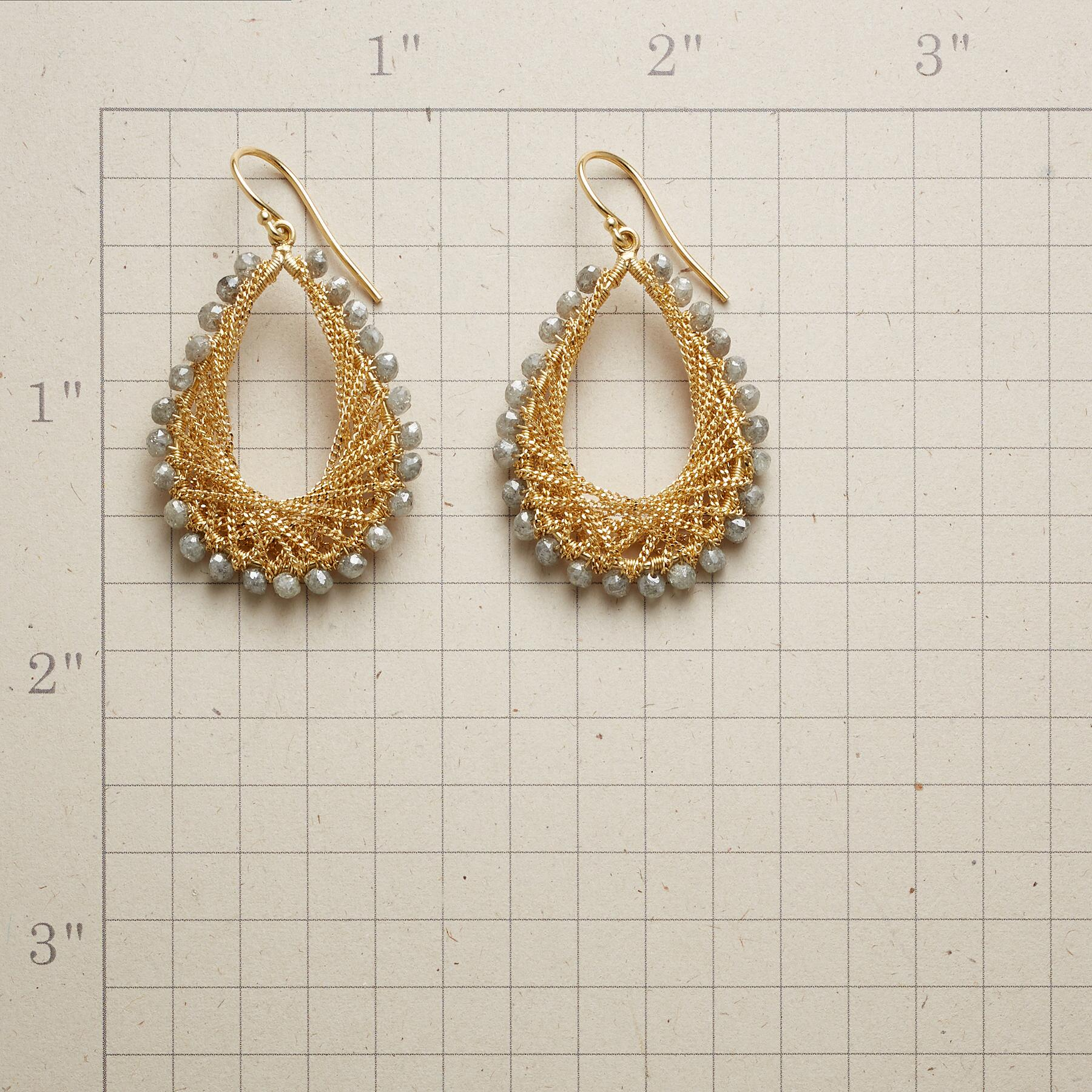 LACE & LIGHT DIAMOND EARRINGS: View 2