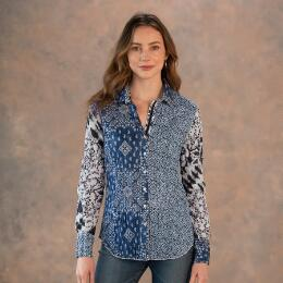 JOIN THE MIX BLUE MULTI TOP