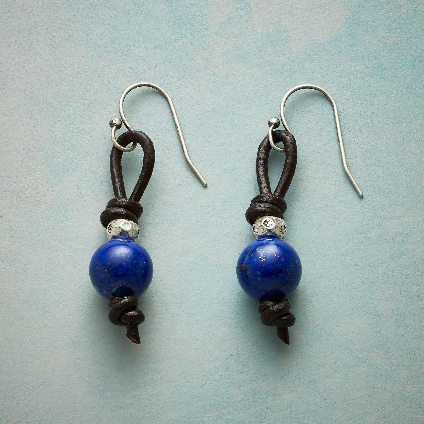 LAPIS LEATHER EARRINGS: View 1