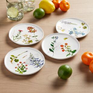 GARDEN BLOOMS APPETIZER PLATES, SET OF 4