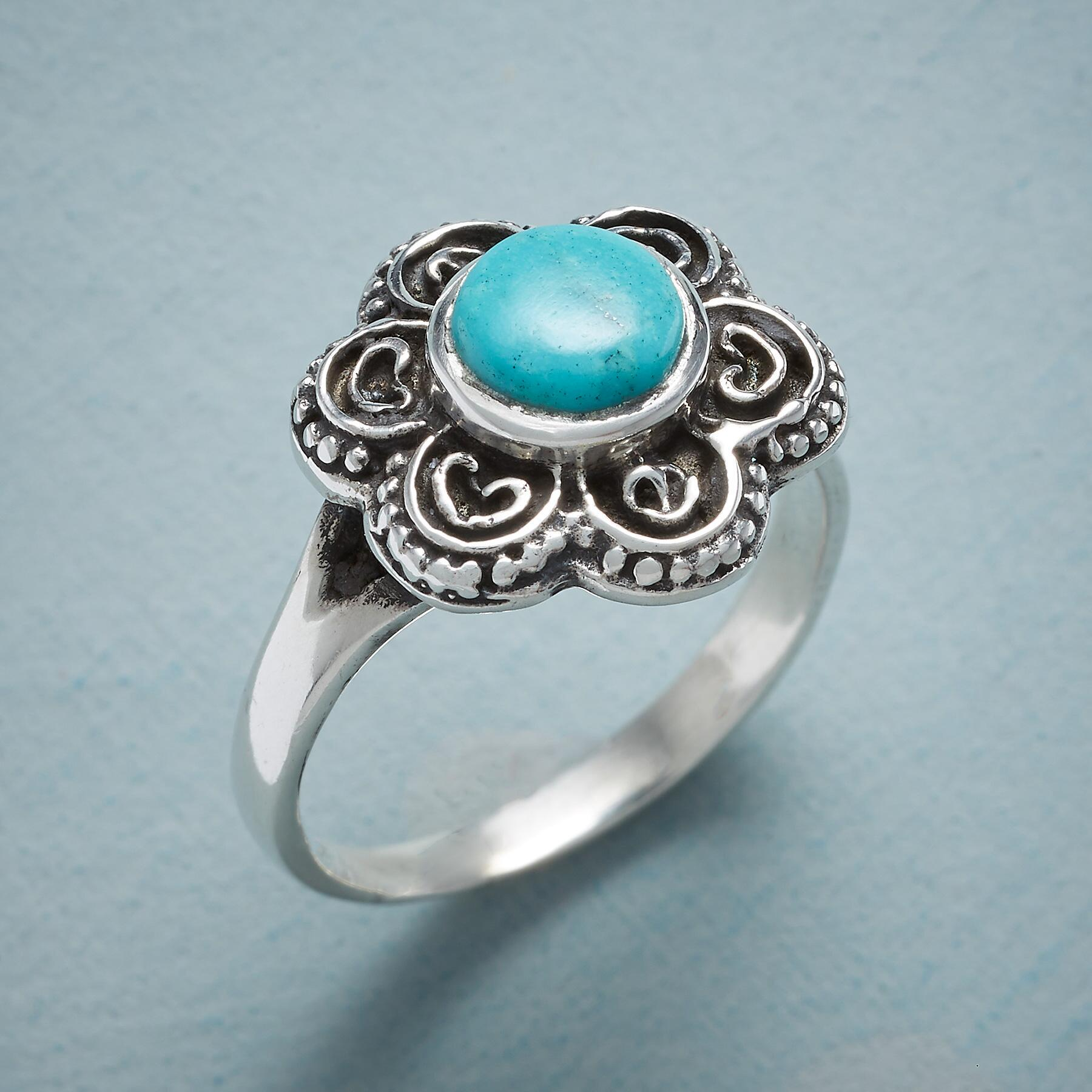 FLOWERING TURQUOISE RING: View 1