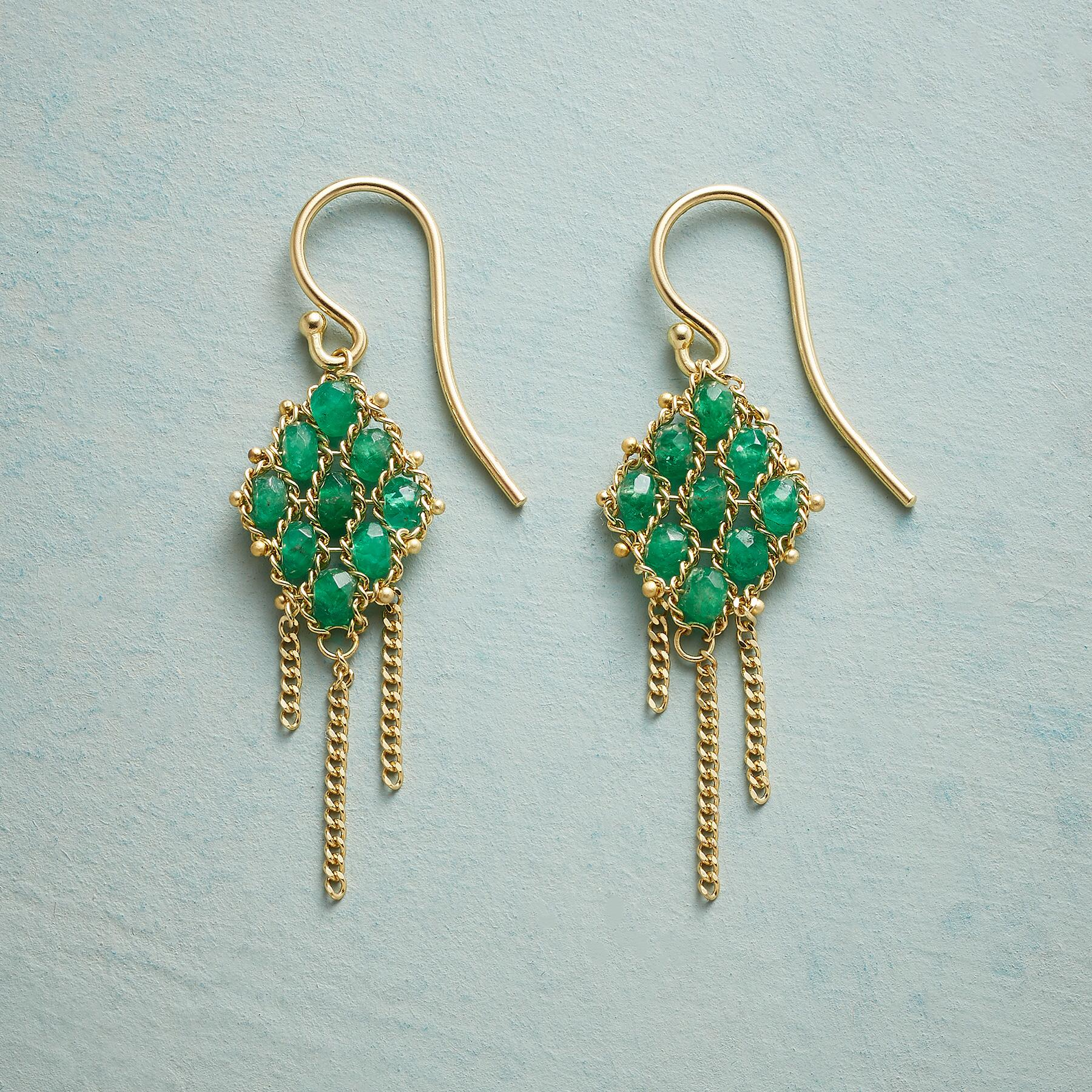EMERALD TAPESTRY EARRINGS: View 1