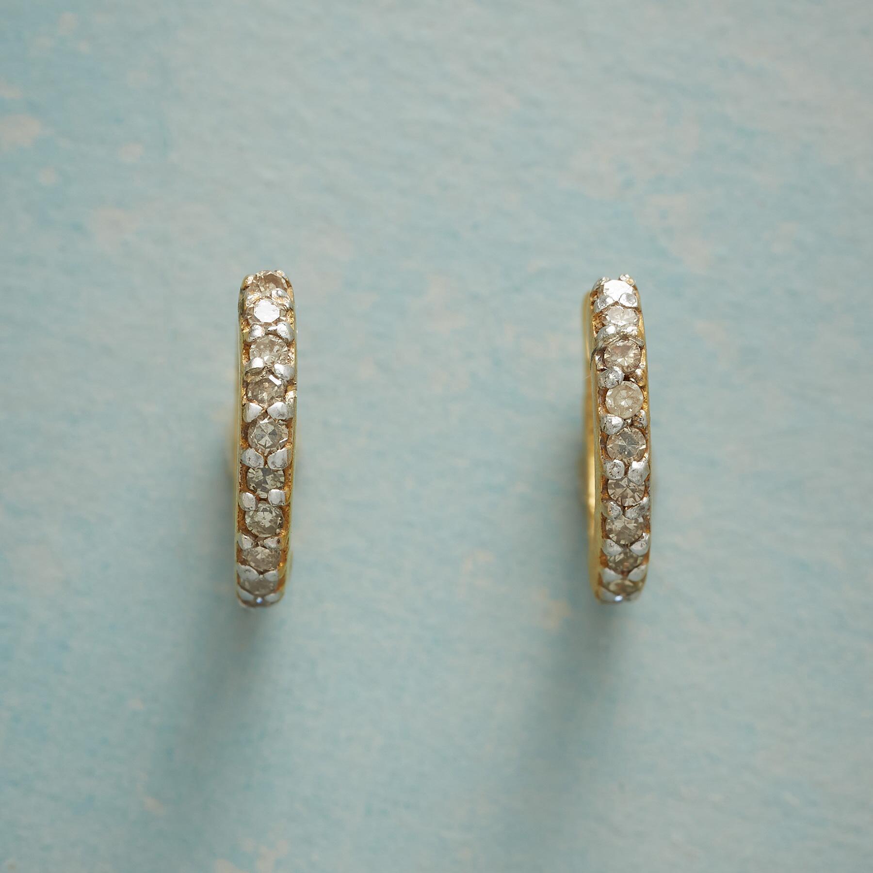HUGGY DIAMOND HOOP EARRINGS: View 1