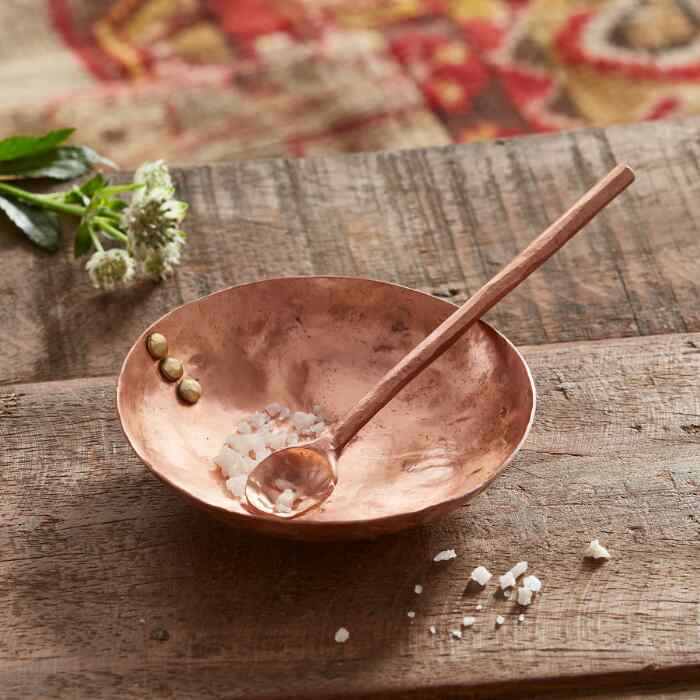 COPPER SPICE DISH AND SPOON