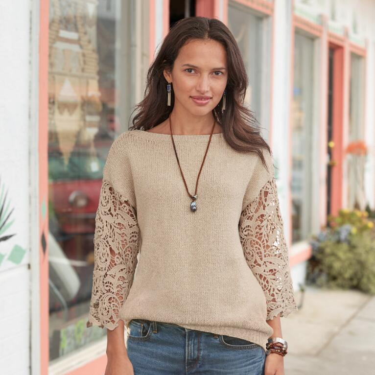 LACE DELIGHT PULLOVER - PETITES