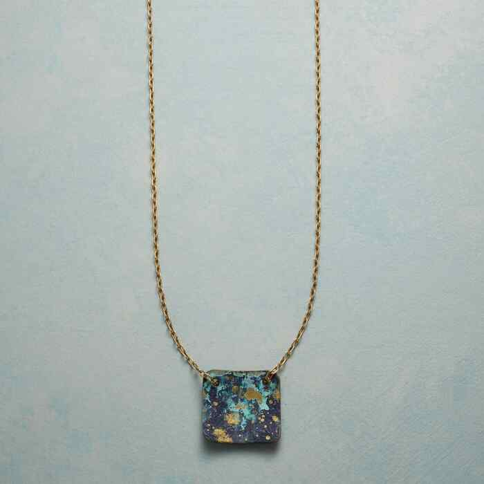 BLUE VERDIGRIS PENDANT NECKLACE