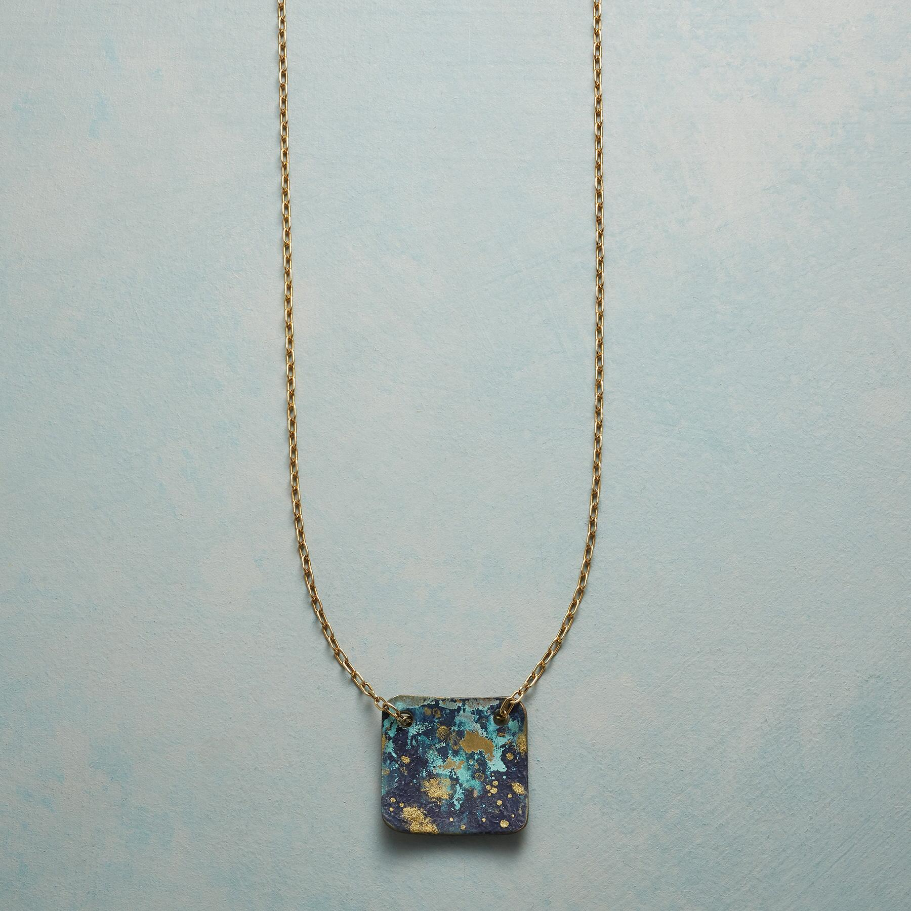 BLUE VERDIGRIS PENDANT NECKLACE: View 1