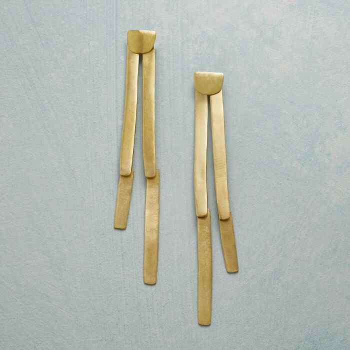 BRASS BAMBOO SHOOT EARRINGS