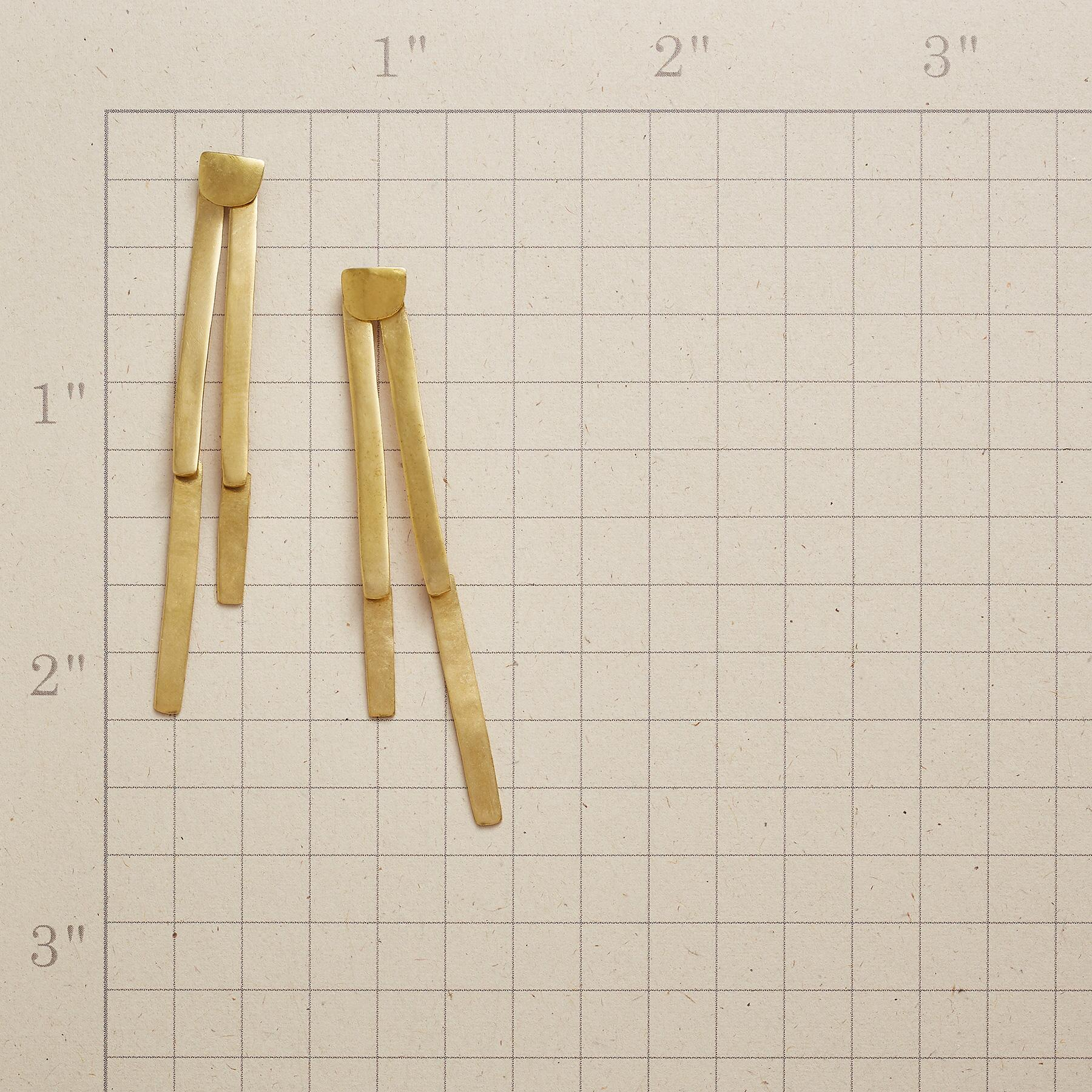 BRASS BAMBOO SHOOT EARRINGS: View 2