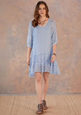 BLUE EMBROIDERED SILK DRESS