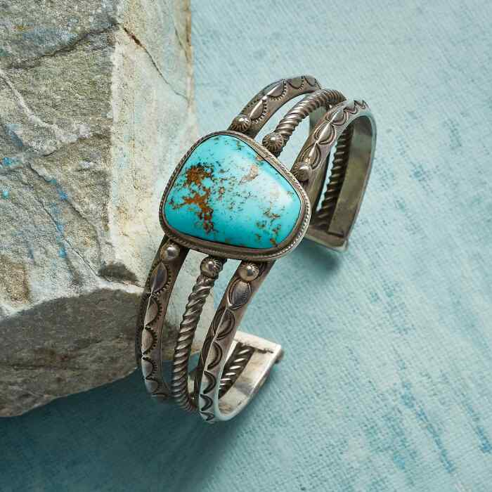 1940S THREE BAR TURQUOISE CUFF