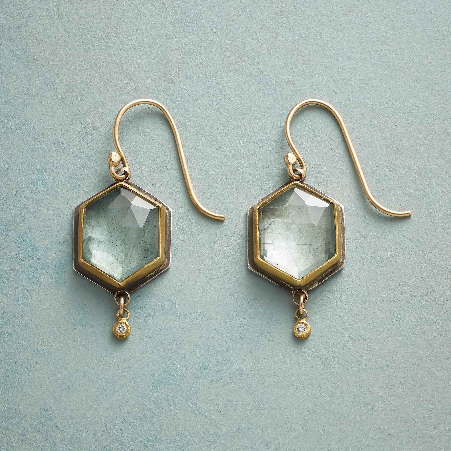 BEGUILING MOSS AQUAMARINE EARRINGS: View 1