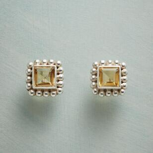 CITRINE ON THE SQUARE EARRINGS