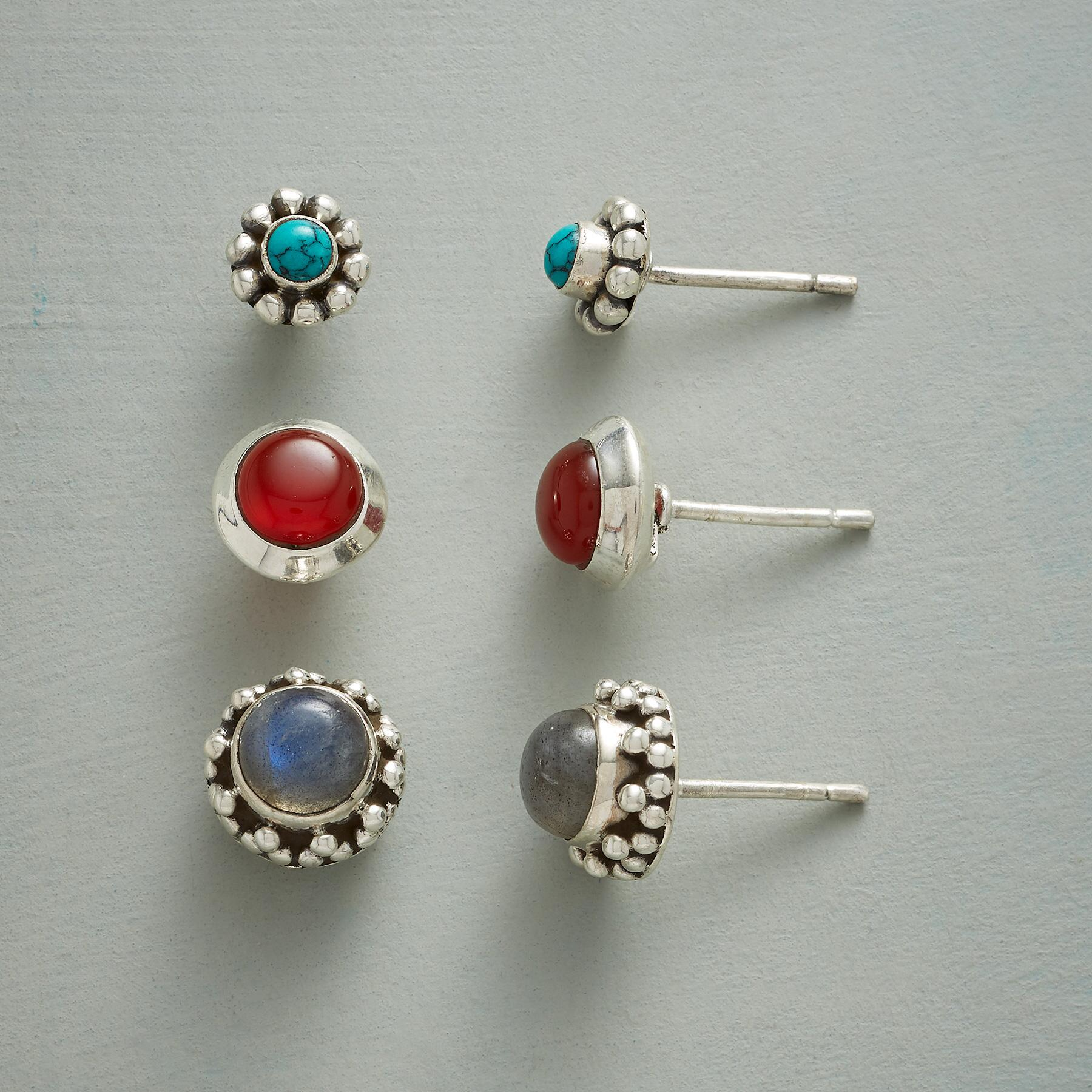 CIRCLE THE GEMSTONES EARRING TRIO: View 1