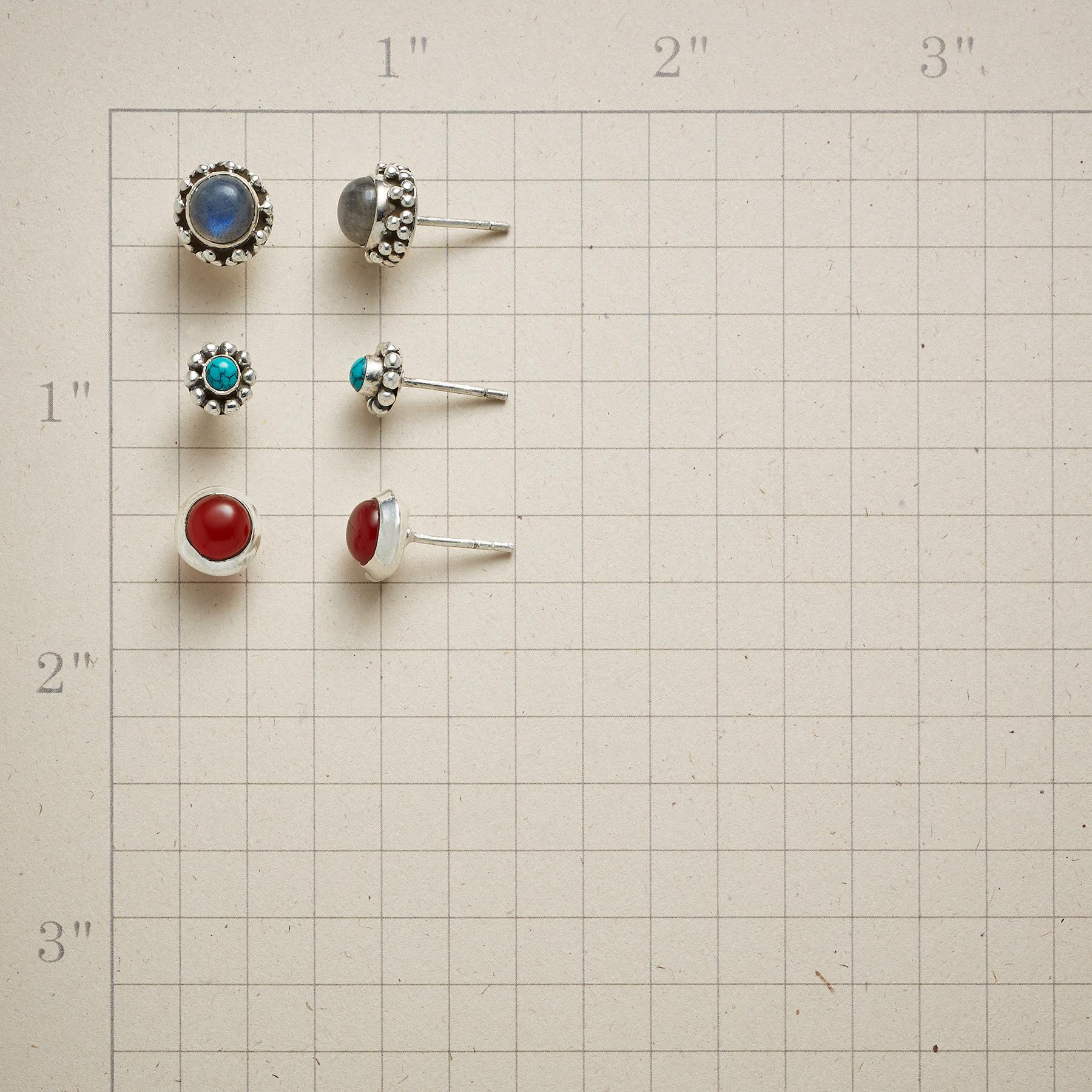 CIRCLE THE GEMSTONES EARRING TRIO: View 2