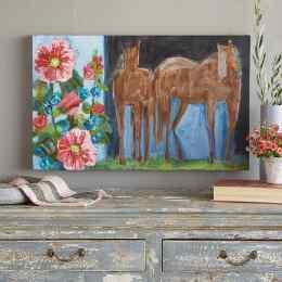HORSES & HOLLYHOCKS PAINTING