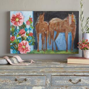 HORSES & HOLLYHOCKS PAINTING