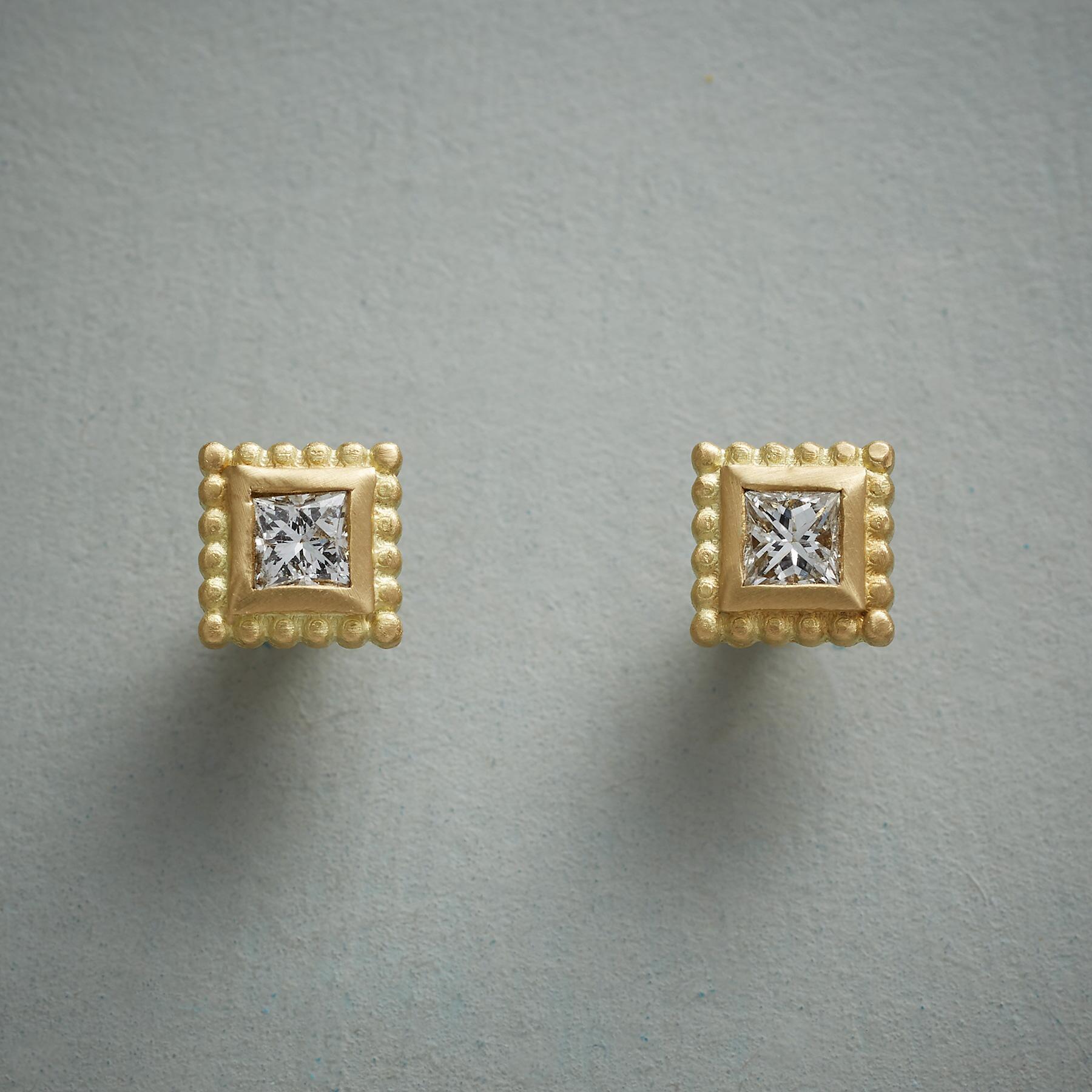 PRINCESS DIAMOND EARRINGS: View 1