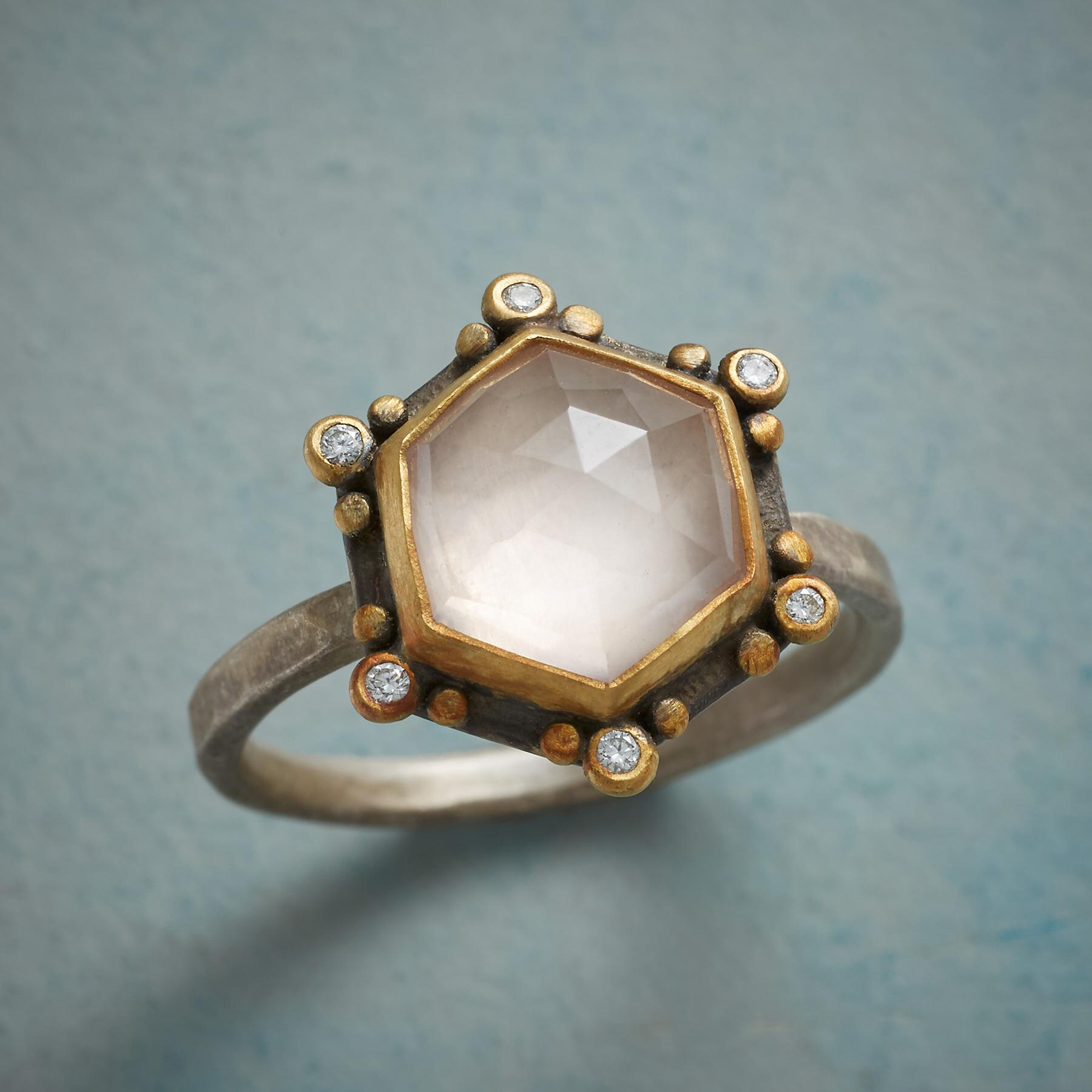 ROSE QUARTZ SUNBEAMS RING: View 1