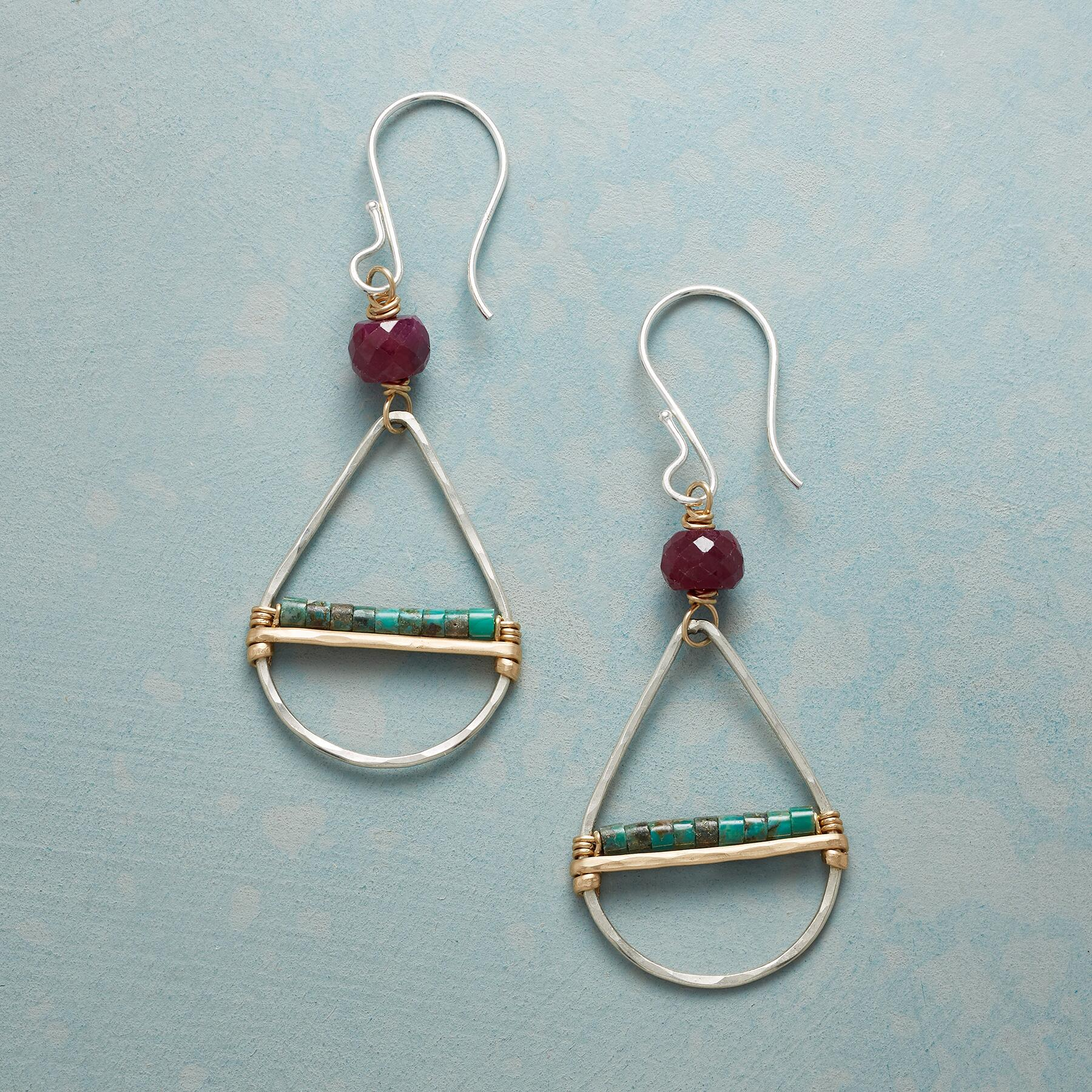 RUBY & TURQUOISE EARRINGS: View 1