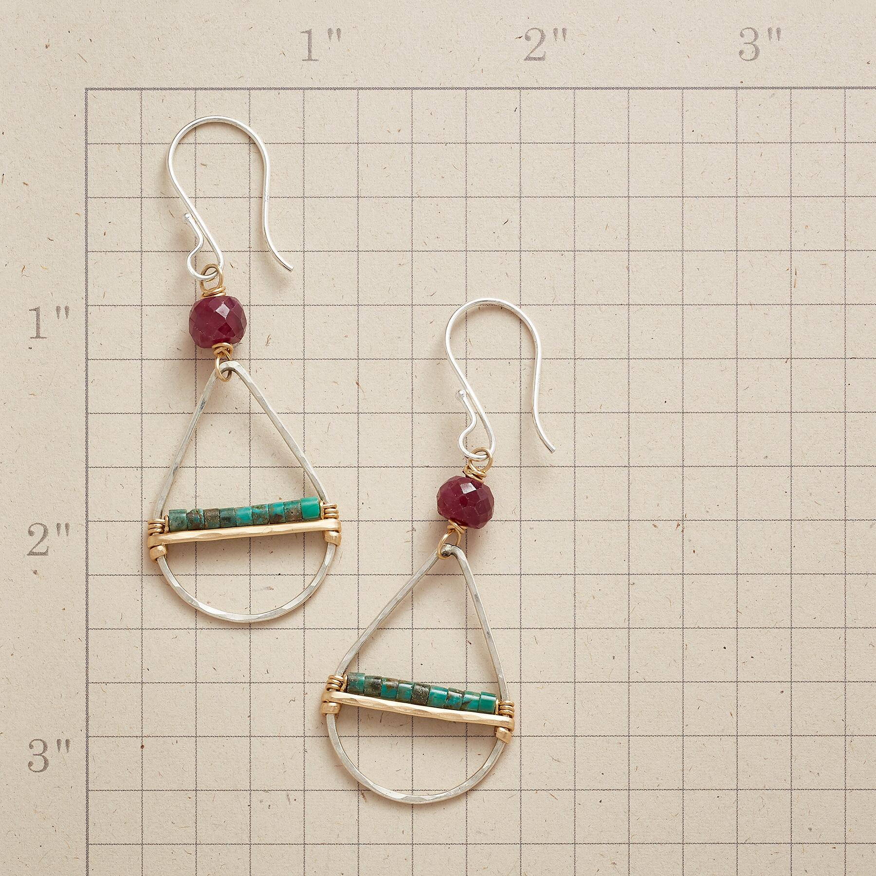 RUBY & TURQUOISE EARRINGS: View 2