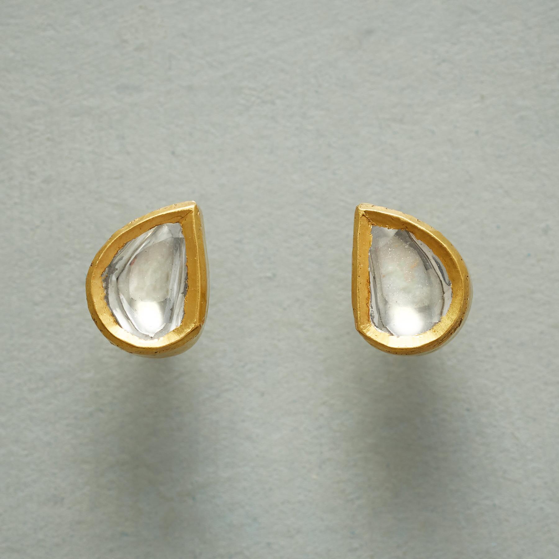 POLKI DIAMOND DEWDROP EARRINGS: View 1