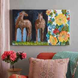 FLOWERS AND A PAIR PAINTING