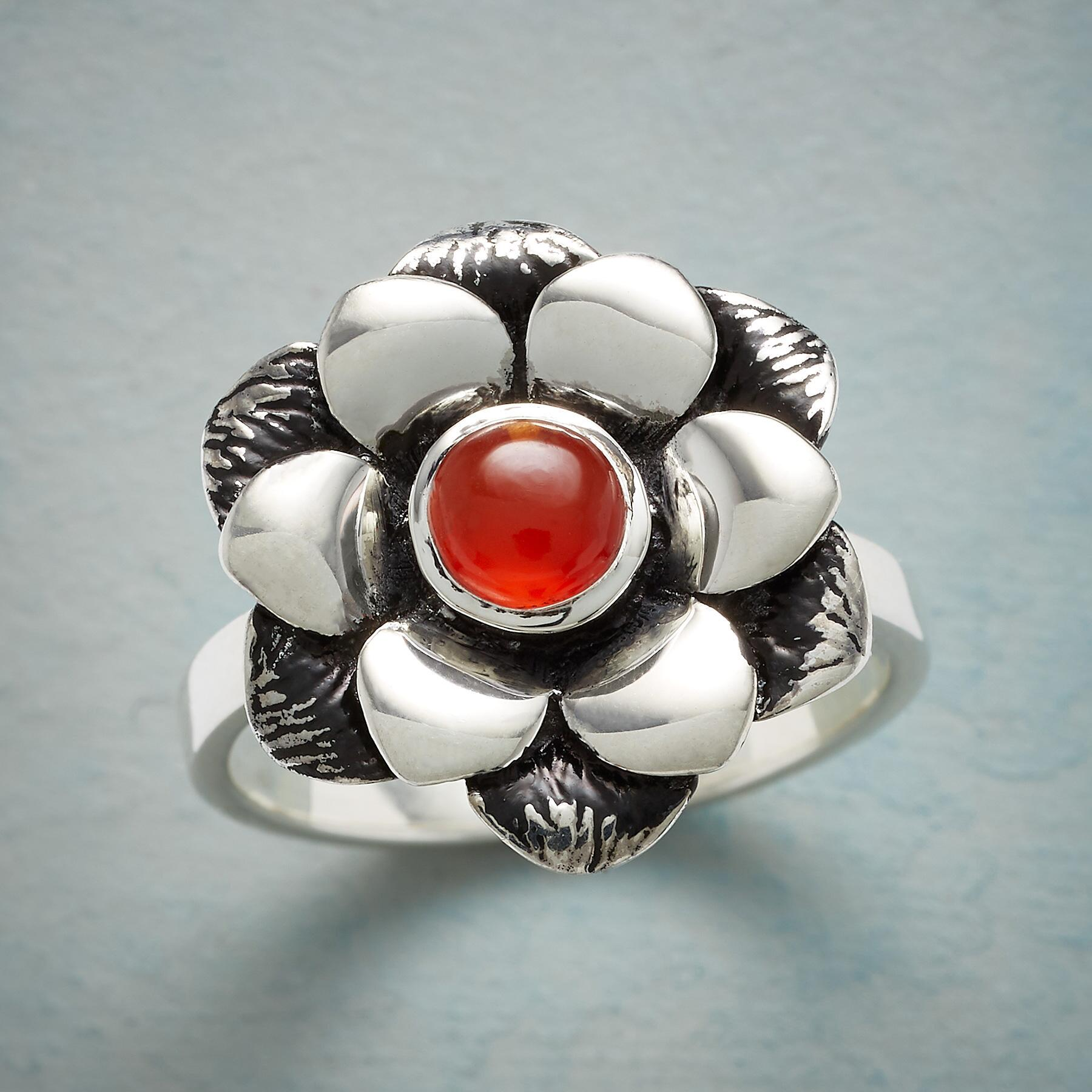 CARNELIAN ZINNIA RING: View 1