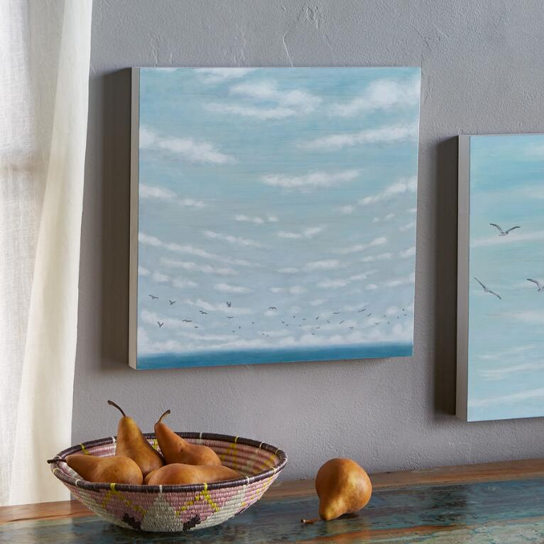 FLYING ABOVE THE SEA PAINTING