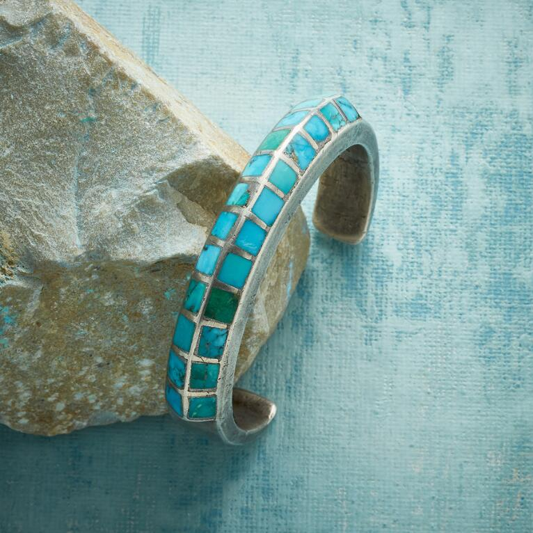 1950S INLAID MORENCI TURQUOISE CUFF