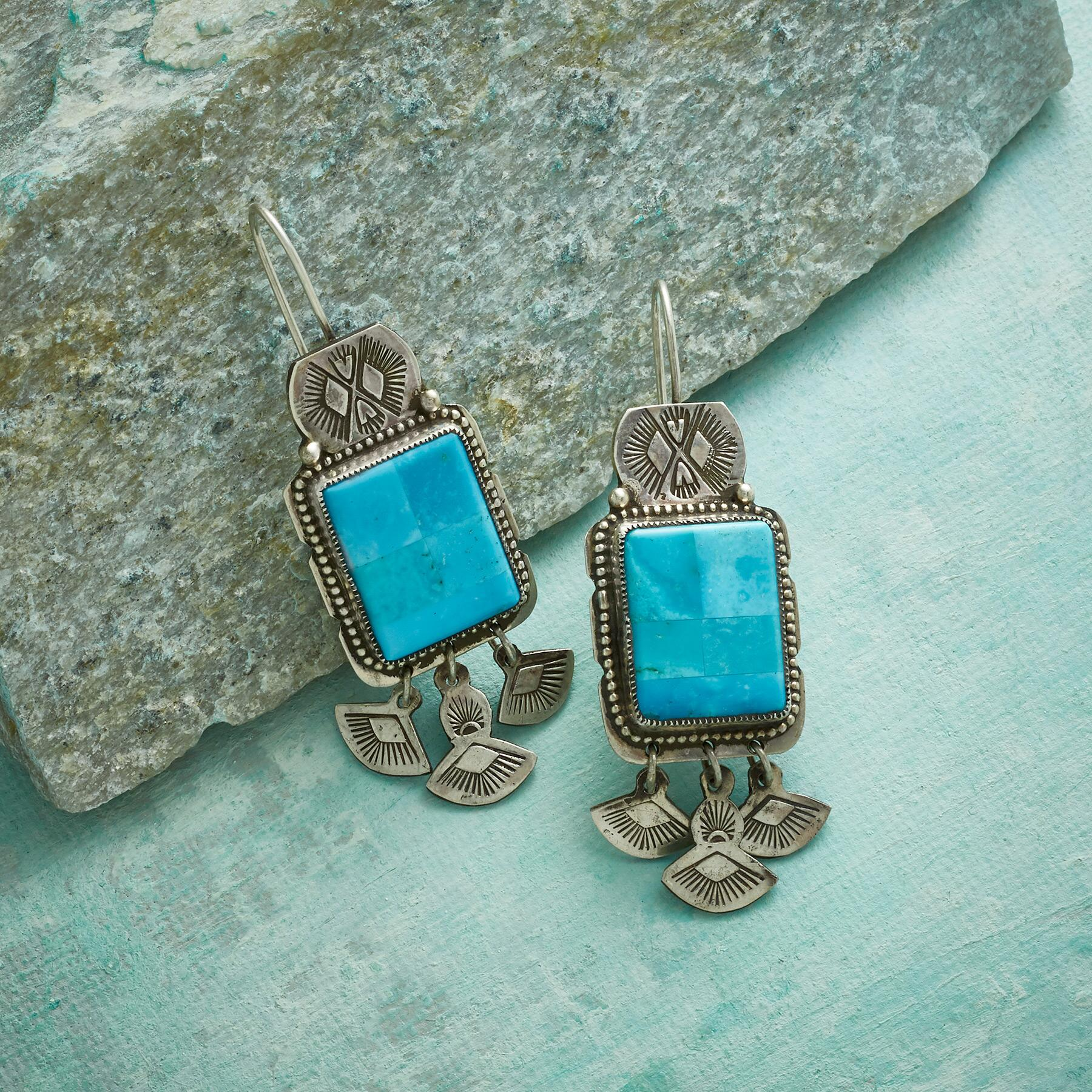 STUDY IN BLUE TURQUOISE EARRINGS: View 1