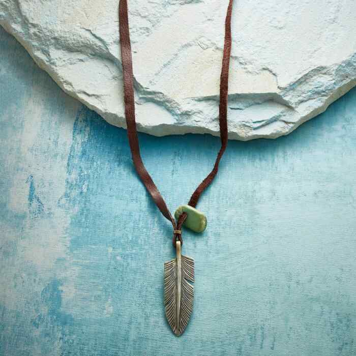 JESSE ROBBINS FEATHER & TURQUOISE NECKLACE