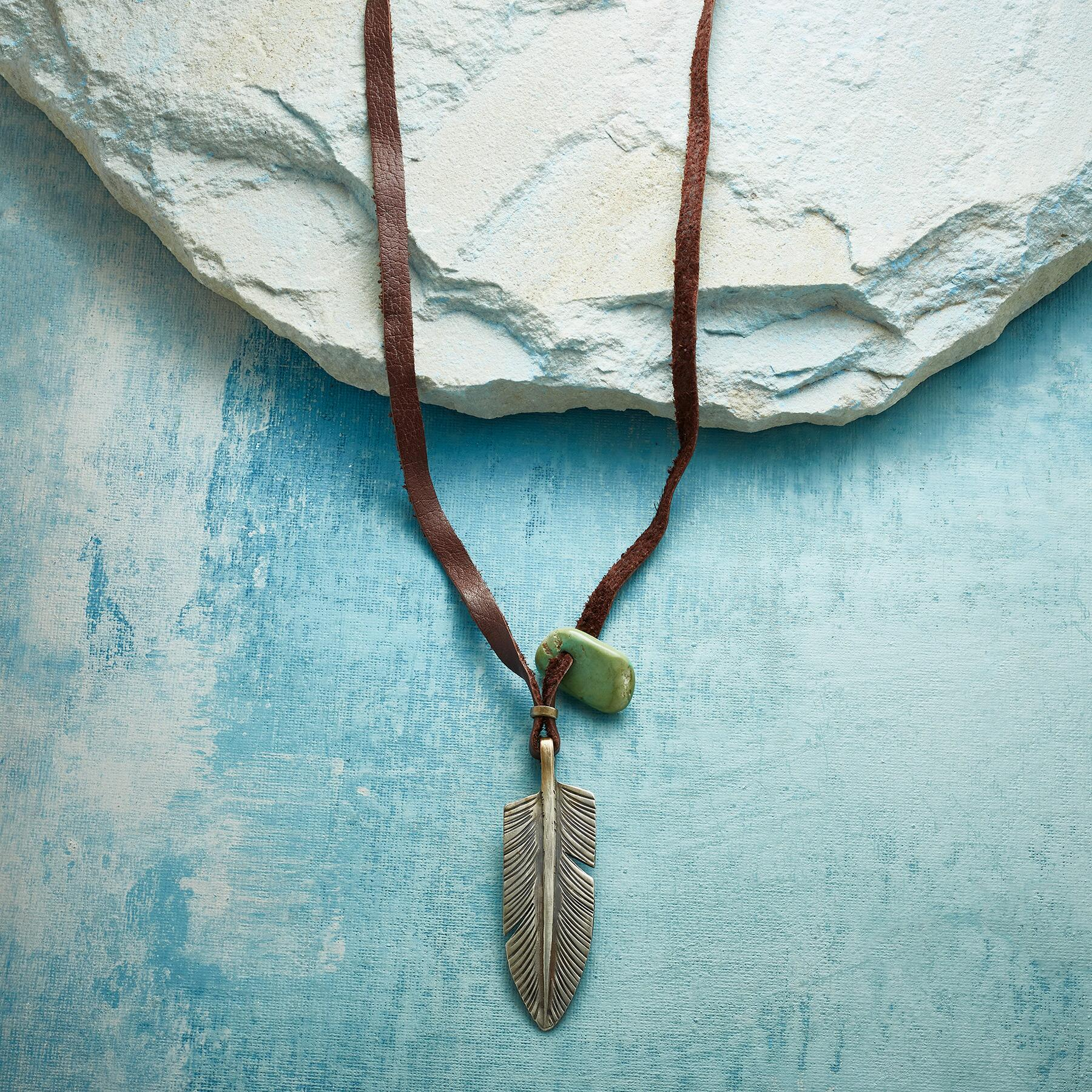 JESSE ROBBINS FEATHER & TURQUOISE NECKLACE: View 1