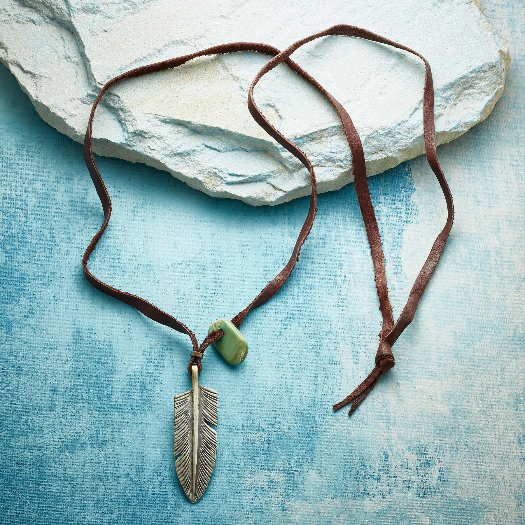 JESSE ROBBINS FEATHER & TURQUOISE NECKLACE: View 2