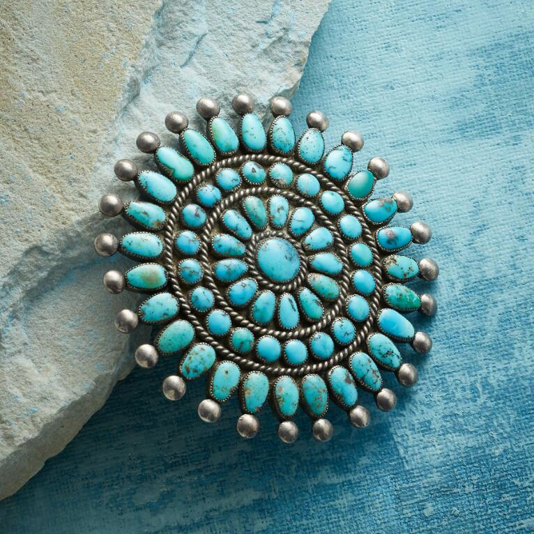 1950S FOX TURQUOISE CLUSTER PIN