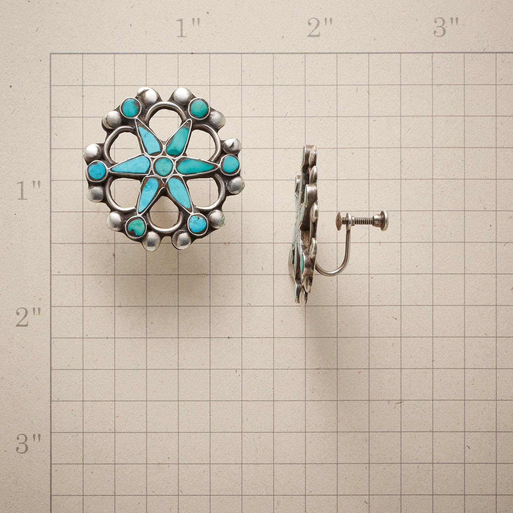 1950S WAGON WHEEL TURQUOISE EARRINGS: View 2