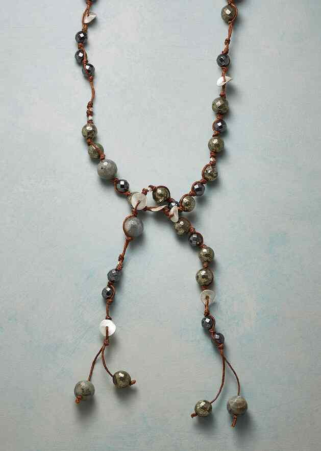 NIGHT SHADOWS BEADED LARIAT NECKLACE