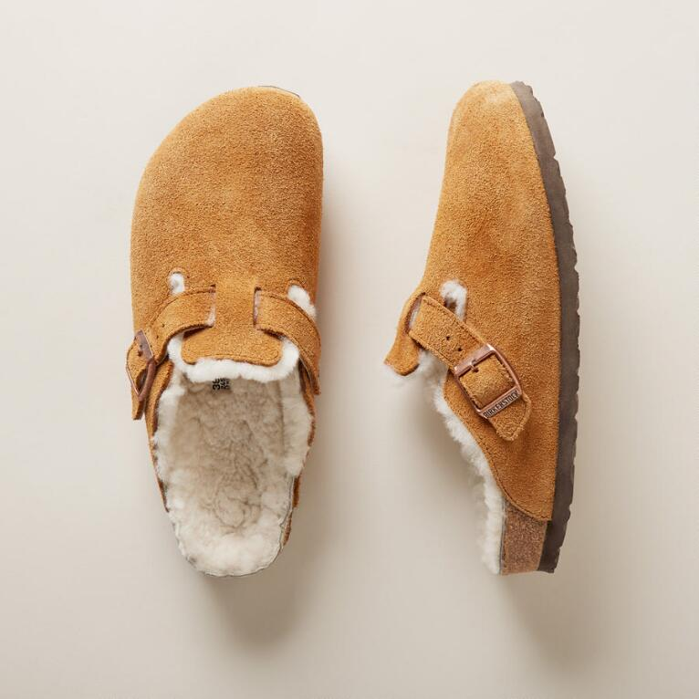 WOMEN'S BOSTON SHEARLING SUEDE MULES