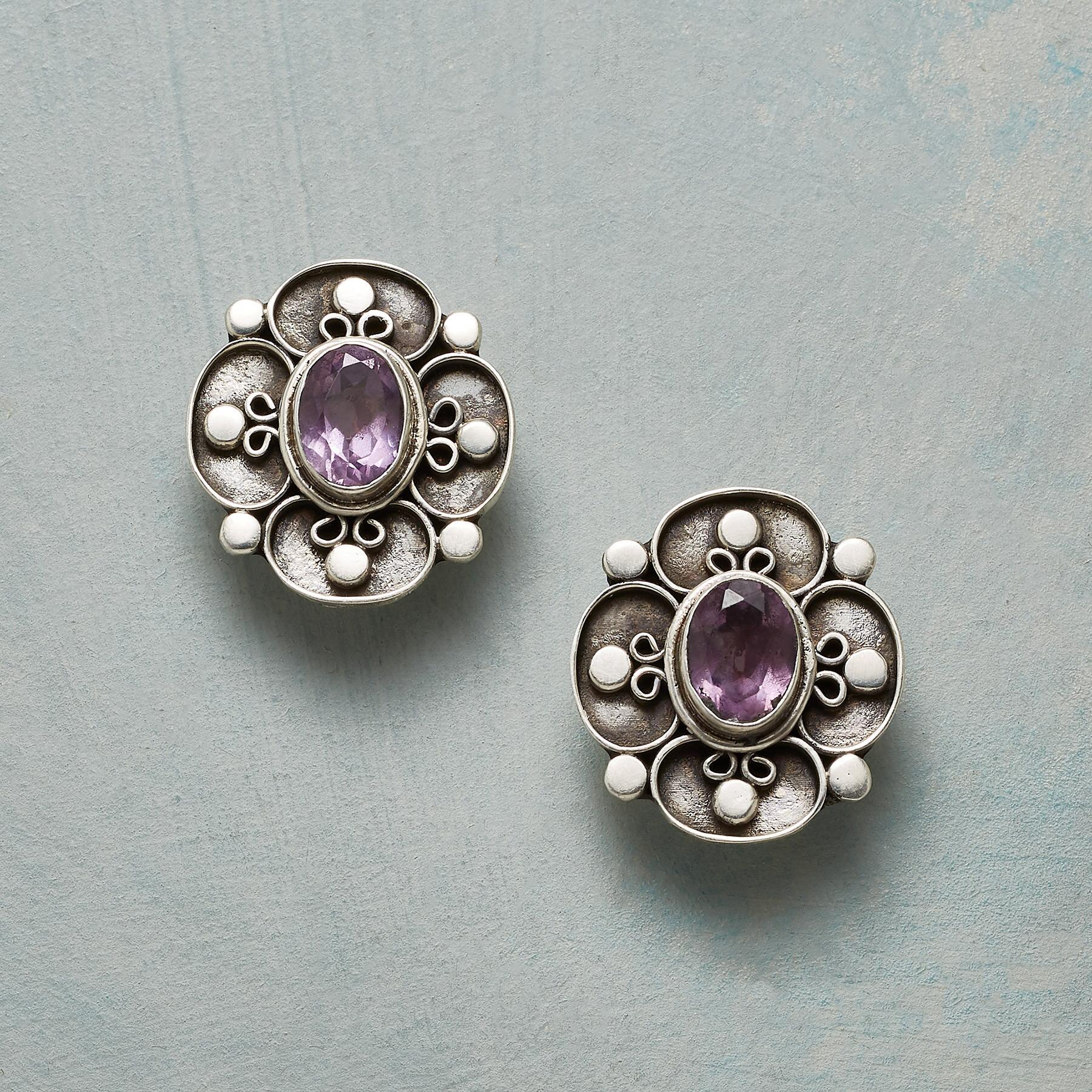 AMETHYST FLOWER EARRINGS: View 1